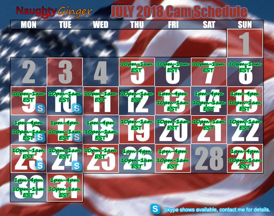 July 2018 Schedule