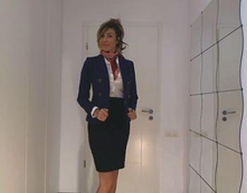 Stewardess Strip Tease and cum